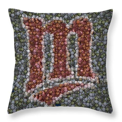 Minnesota Twins Throw Pillow featuring the mixed media Minnesota Twins Baseball Mosaic by Paul Van Scott