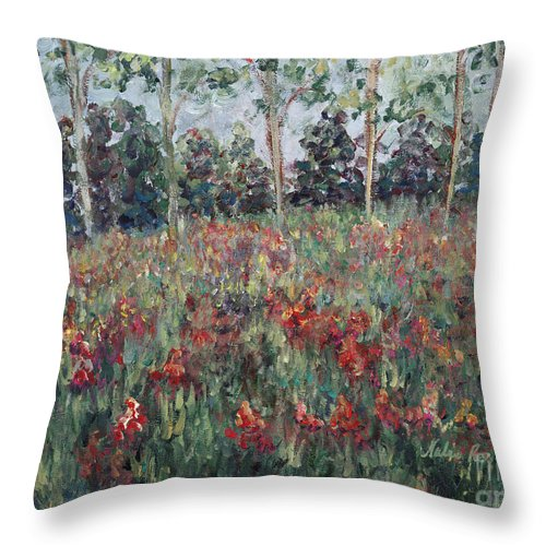 Landscape Throw Pillow featuring the painting Minnesota Wildflowers by Nadine Rippelmeyer