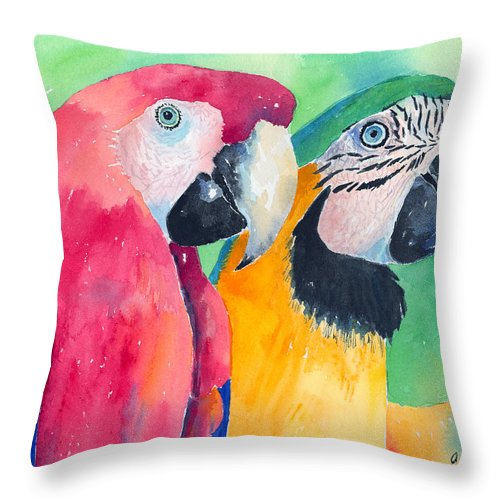 Macaw Throw Pillow featuring the painting Minnie And Boggs by Arline Wagner