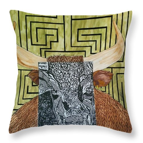 Throw Pillow featuring the mixed media Minotaur by Rafael Colon
