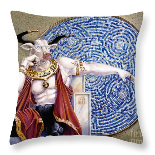 Anthropomorphic Throw Pillow featuring the painting Minotaur With Mosaic by Melissa A Benson