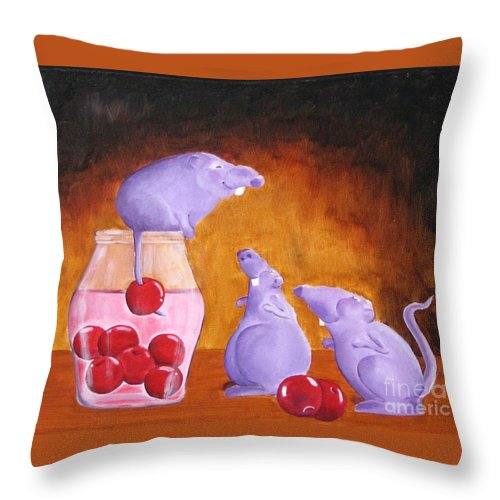 Mice Throw Pillow featuring the painting Mioummmmmmmmmm Cherriesssssssssss by Line Gagne