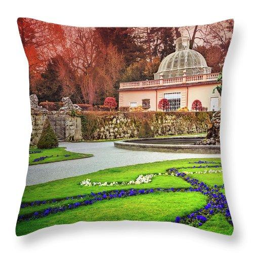 Mirabell Gardens Throw Pillow featuring the photograph Mirabell Gardens Salzburg by Carol Japp
