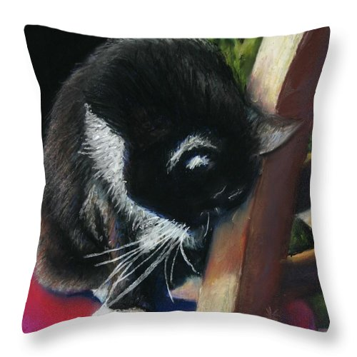 Cat Throw Pillow featuring the painting Kitty Chair by Minaz Jantz