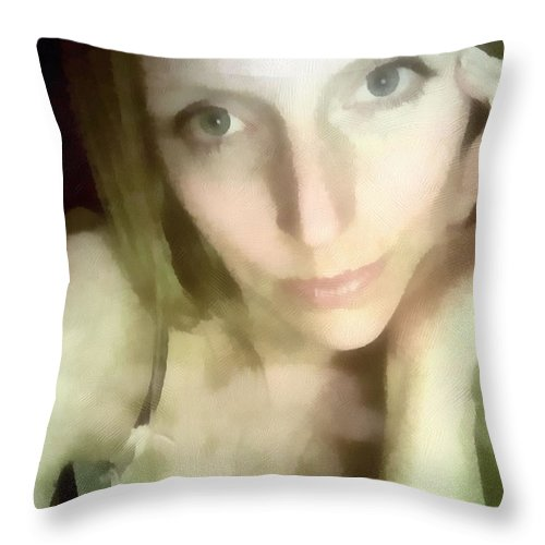 Female Throw Pillow featuring the painting Miriam By Monitors Glow by Jeffrey Kolker
