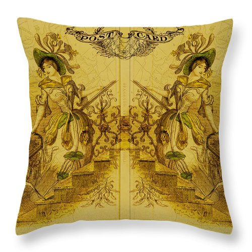 Sisters Throw Pillow featuring the digital art Mirror Image by Sarah Vernon