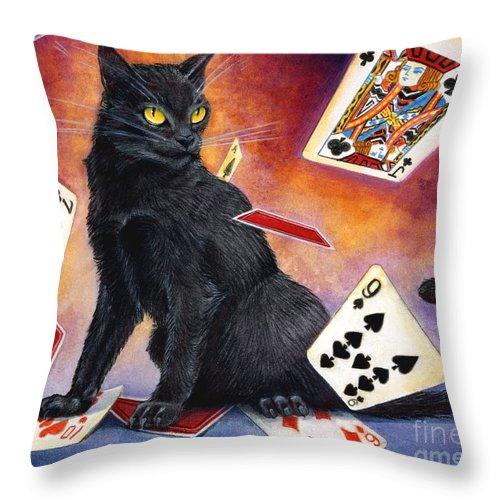 Cat Throw Pillow featuring the painting Mischief Kitten by Melissa A Benson