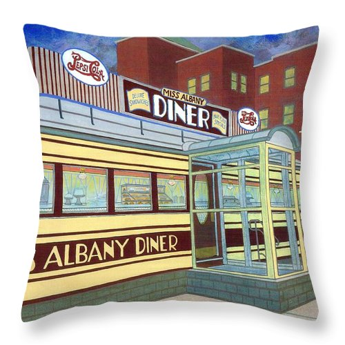 Landscape Throw Pillow featuring the painting Miss Albany Diner by David Hinchen