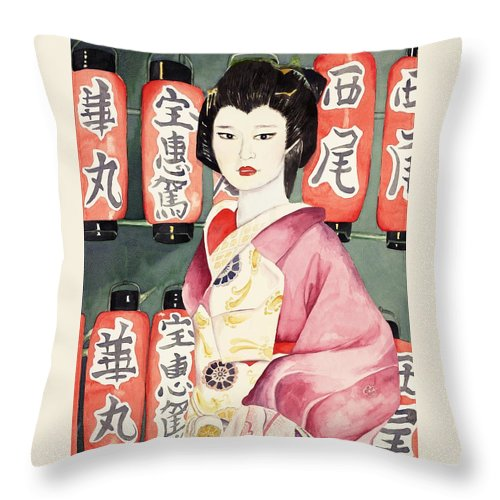 Geisha In Kimono With Red Lanterns Throw Pillow featuring the painting Miss Hanamaru at Osaka Festival by Judy Swerlick