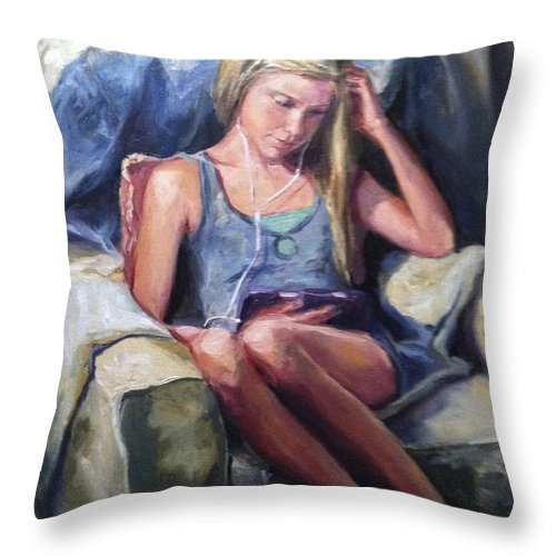 Reading Throw Pillow featuring the painting Miss Molly by Pamela Nichols