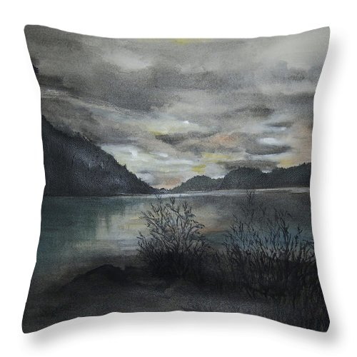 Sunset Throw Pillow featuring the painting Missezula Lake Sunset by Susan Moore