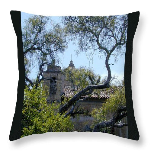 Mission Throw Pillow featuring the photograph Mission At Carmell by Douglas Barnett