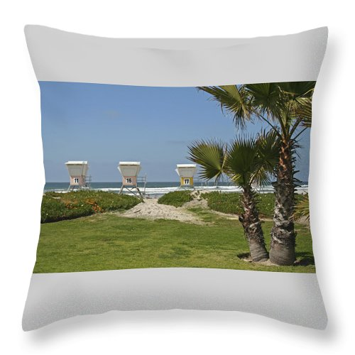 Beach Throw Pillow featuring the photograph Mission Beach Shelters by Margie Wildblood