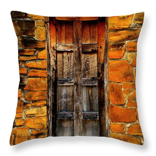 Door Throw Pillow featuring the photograph Mission Door by Perry Webster