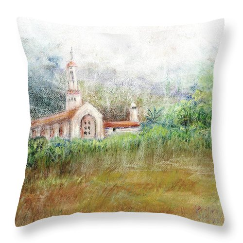 Mission Throw Pillow featuring the pastel Mission In The Fog by Arline Wagner
