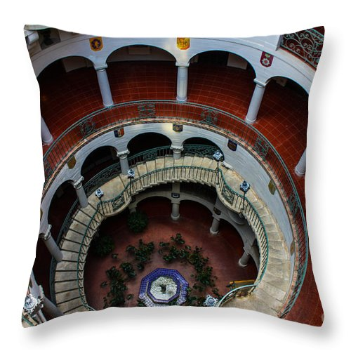 Mission Inn Throw Pillow featuring the photograph Mission Inn Circular Stairway by Tommy Anderson