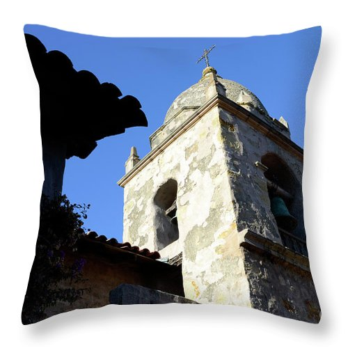 Coast Throw Pillow featuring the photograph Mission Tower by Bob Christopher