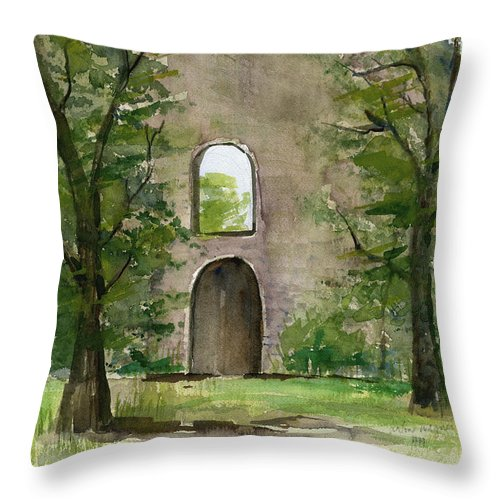 Mission Throw Pillow featuring the painting Mission Wall by Arline Wagner