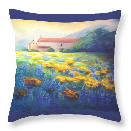 California Mission Paintings Throw Pillow featuring the pastel Mission Wildflowers by Karin Leonard