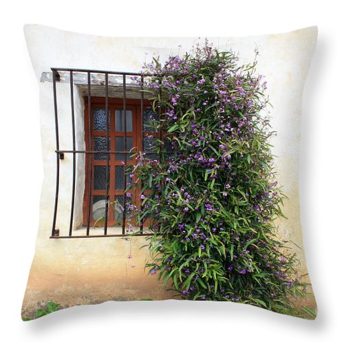 Purple Flowers Throw Pillow featuring the photograph Mission Window With Purple Flowers by Carol Groenen