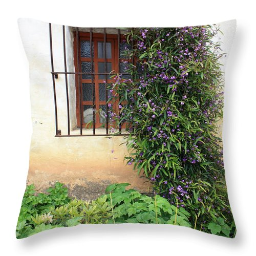 Mission Throw Pillow featuring the photograph Mission Window With Purple Flowers Vertical by Carol Groenen