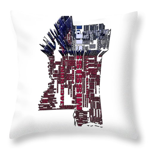 Mississippi Throw Pillow featuring the digital art Mississippi Typographic Map 4b by Brian Reaves