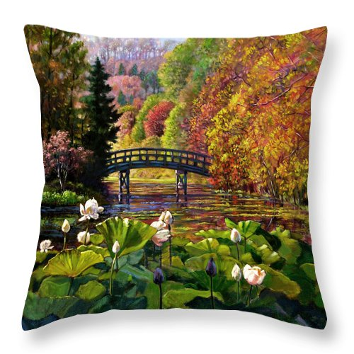 Landscape Throw Pillow featuring the painting Missouri Memories by John Lautermilch