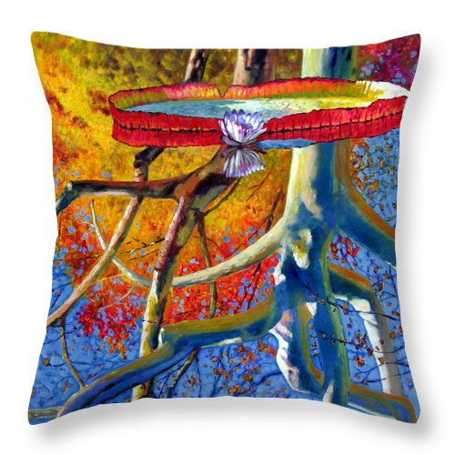 Garden Pond Throw Pillow featuring the painting Missouri Sycamore Reflections by John Lautermilch