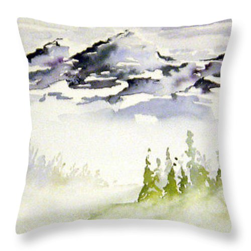Rock Mountain Range Alberta Canada Throw Pillow featuring the painting Mist In The Mountains by Joanne Smoley