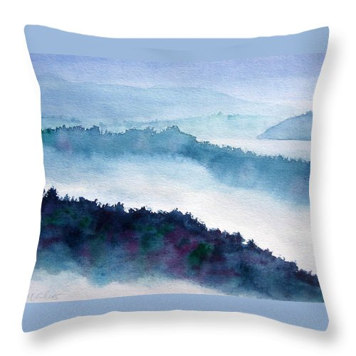 Landscape Throw Pillow featuring the painting Mist On Howe Sound by Pat Vickers