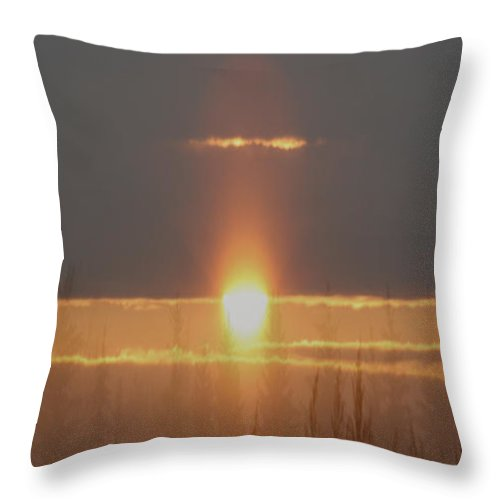 Sun Sunrise Sky Fog Mist Trees Grass Scenery Sunshine Misty Morning Evergreen Forest Throw Pillow featuring the photograph Mistique by Andrea Lawrence