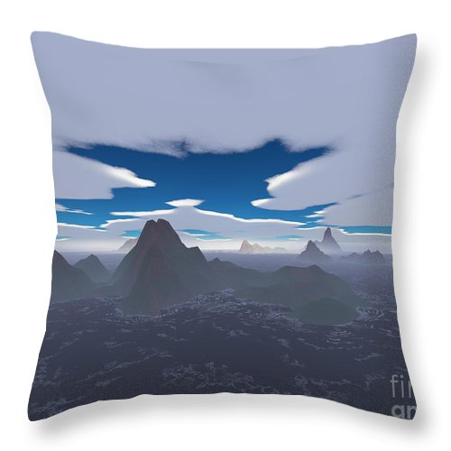 Aerial Throw Pillow featuring the digital art Misty Archipelago by Gaspar Avila