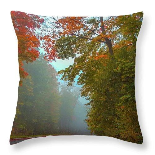 Autumn Throw Pillow featuring the photograph Misty Autumn Road by Art Spectrum