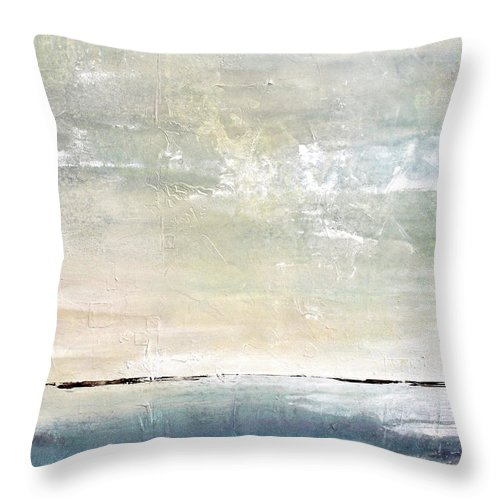 Abstract Landscape Throw Pillow featuring the painting Misty Blue by Karen Hale