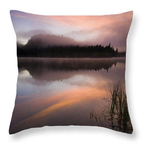 Sunrise Throw Pillow featuring the photograph Misty Dawn by Mike Dawson