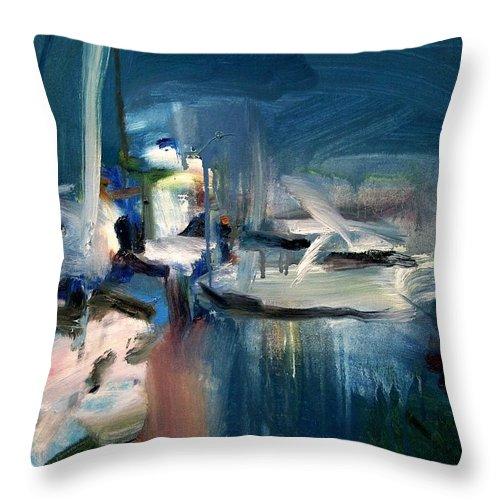 Dornberg Throw Pillow featuring the painting Misty Harbor by Bob Dornberg