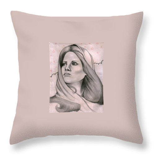 Portrait Throw Pillow featuring the drawing Misty by Marco Morales