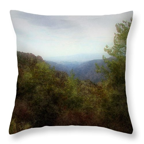 Cliffs Throw Pillow featuring the digital art Misty Morn In The Mountains by RC DeWinter