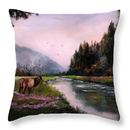 Jan Holman Art Paintings 2010 Elk Throw Pillow featuring the painting Misty Morning by Jan Holman