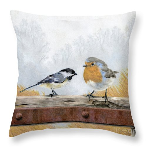 Birds Throw Pillow featuring the painting Feathered Friends by Sarah Batalka