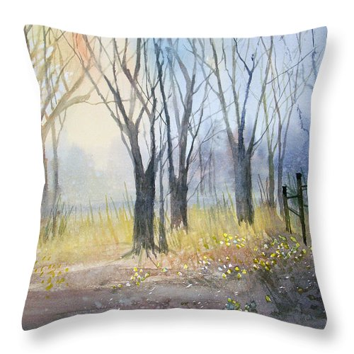 Watercolor Throw Pillow featuring the painting Misty Morning by Ryan Radke