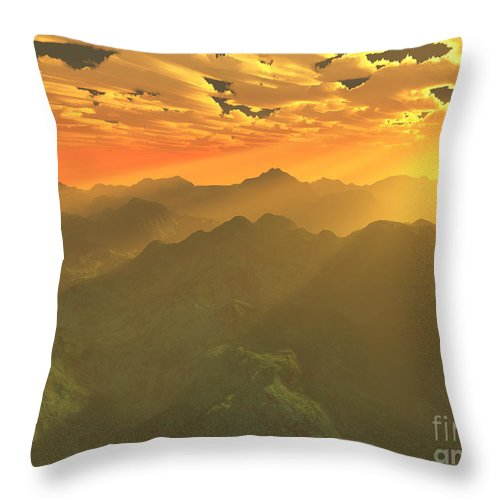 Computer Art Throw Pillow featuring the digital art Misty Mornings In Neverland by Gaspar Avila