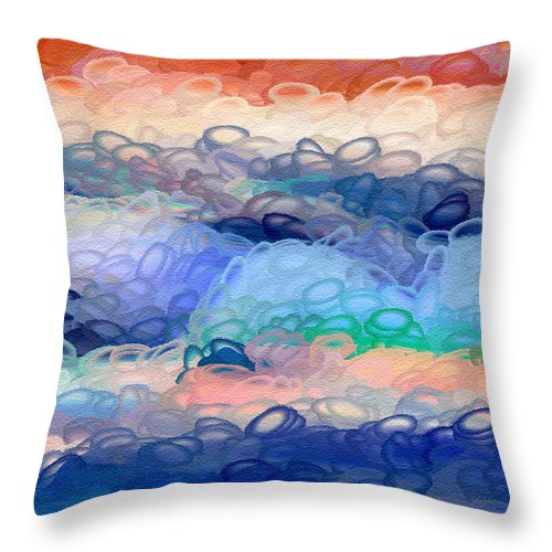 Ebsq Throw Pillow featuring the digital art Misty Mountain Bubbles by Dee Flouton