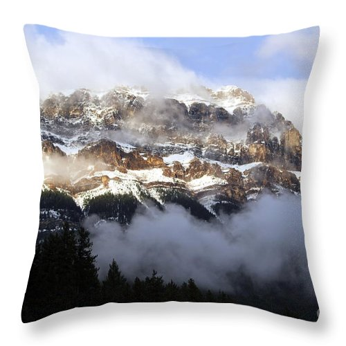 Landscape Throw Pillow featuring the photograph Misty Mountain by Maria Pogoda