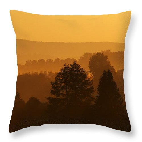 Sunrise Throw Pillow featuring the photograph Misty Mountain Sunrise Mirror Image by Thomas R Fletcher