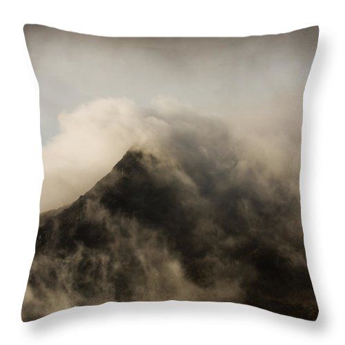 Scotland Throw Pillow featuring the photograph Misty Peak by Colette Panaioti