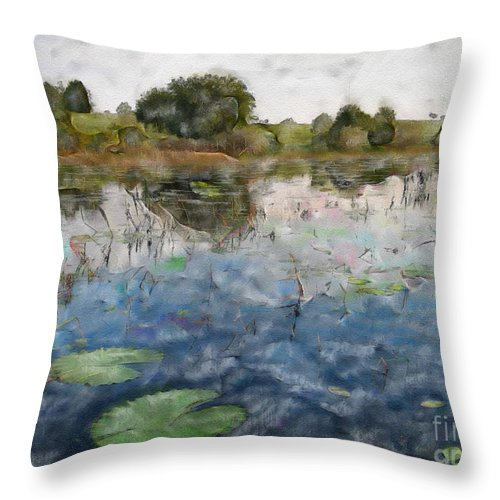 Pond Throw Pillow featuring the photograph Misty Pond by Dee Flouton