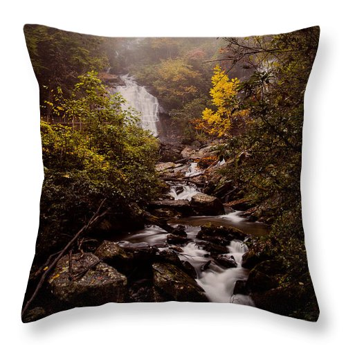 Landscape Throw Pillow featuring the photograph Misty Ruby by Jennifer Luzio