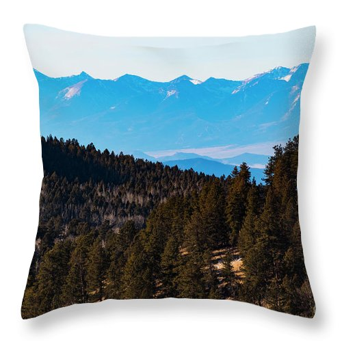 Sangre De Cristo Throw Pillow featuring the photograph Misty Sangre View by Steve Krull