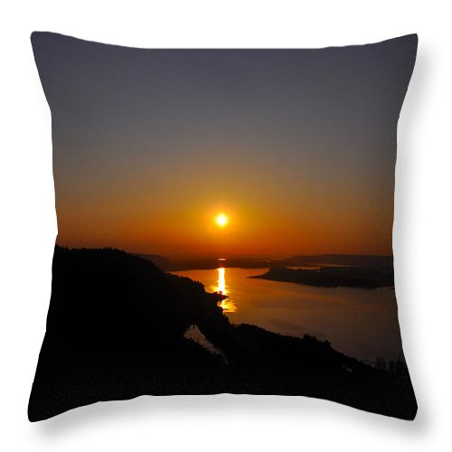 Sunsets Throw Pillow featuring the photograph Misty Sunset by Noah Cole